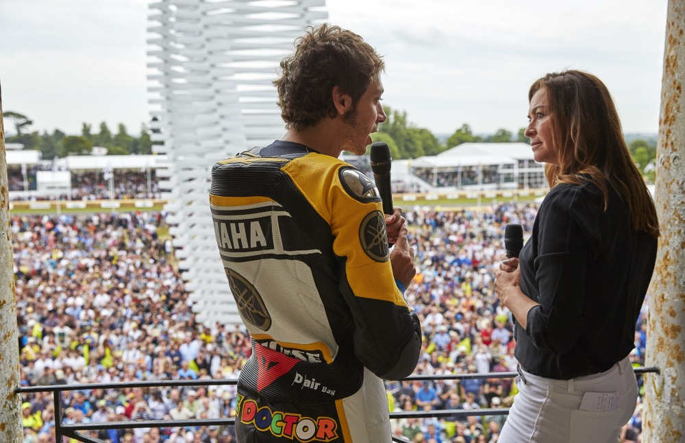 Valentino Rossi and Suzi Perry with crowd at FOS