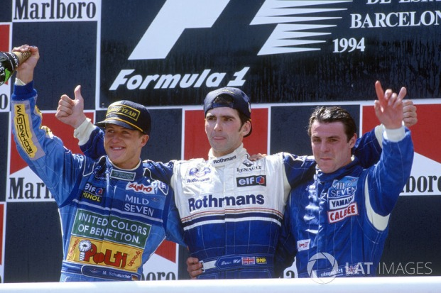 f1-spanish-gp-1994-podium-winner-damon-hill-williams-second-place-michael-schumacher-benet